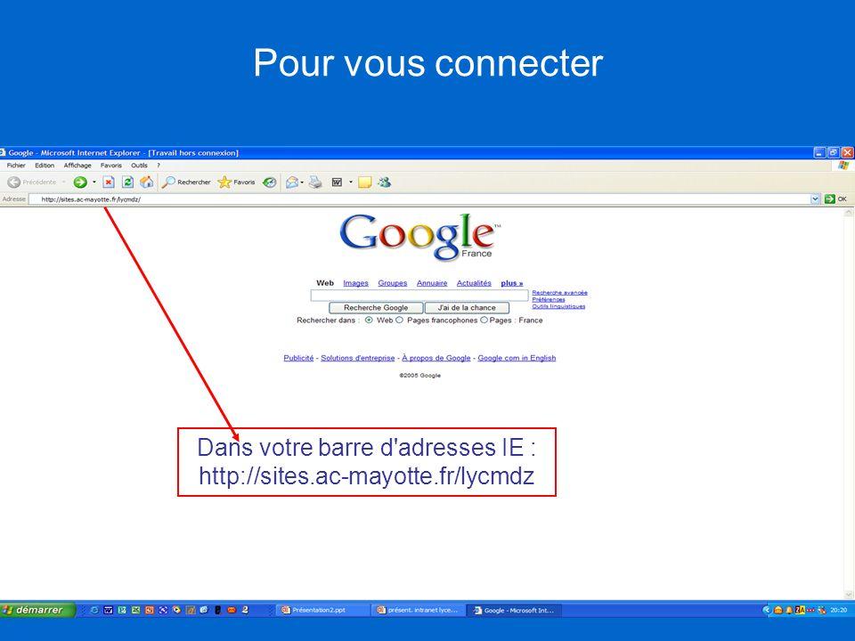 Pour vous connecter Dans votre barre d'adresses IE : http://sites.ac-mayotte.fr/lycmdz