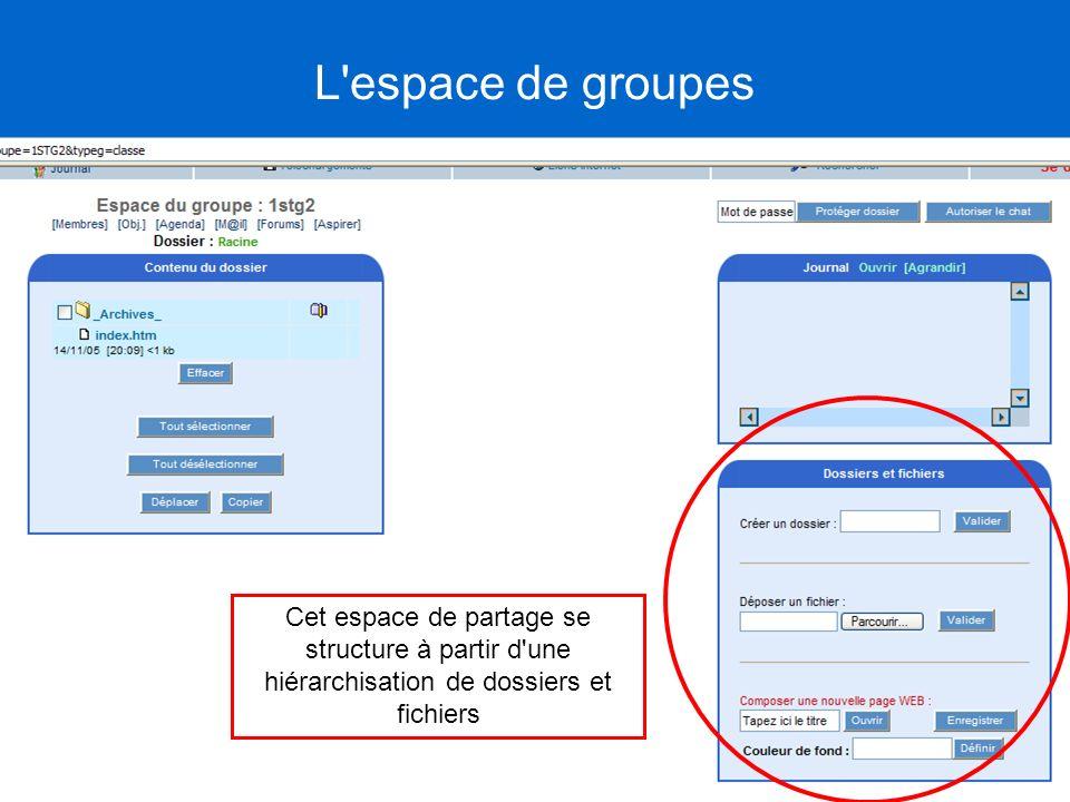 Cet espace de partage se structure à partir d'une hiérarchisation de dossiers et fichiers L'espace de groupes
