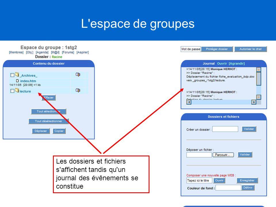 Les dossiers et fichiers s'affichent tandis qu'un journal des évênements se constitue L'espace de groupes