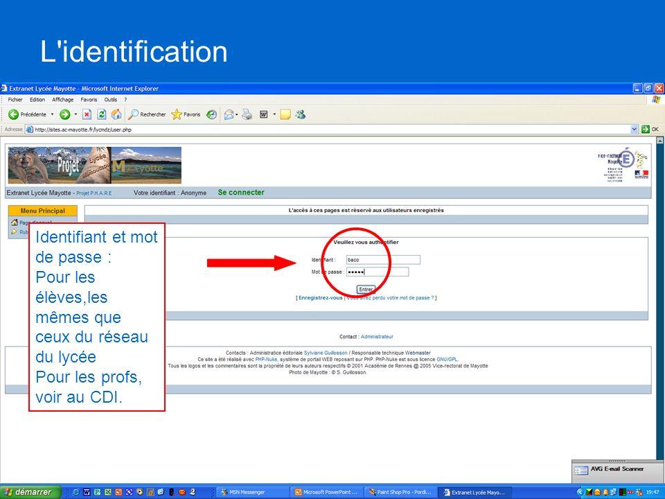 Les menus Recherche de linformation : accès aux articles, liens, téléchargements Agir, créer, proposer des contenus ou des actions : les droits seront différents selon les permissions accordées