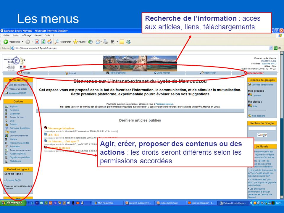 Les menus Recherche de linformation : accès aux articles, liens, téléchargements Agir, créer, proposer des contenus ou des actions : les droits seront