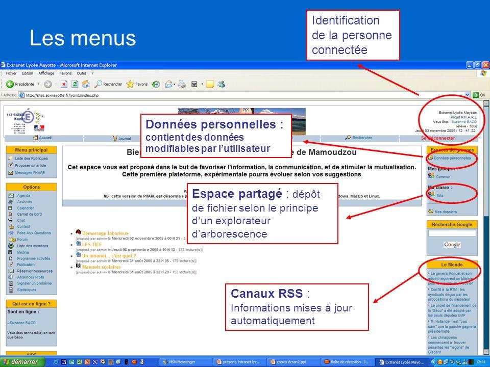 Les menus Identification de la personne connectée Espace partagé : dépôt de fichier selon le principe dun explorateur darborescence Canaux RSS : Infor