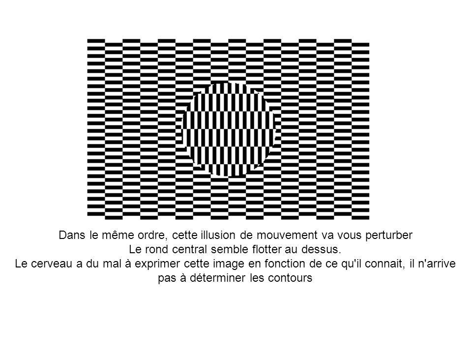 Dans le même ordre, cette illusion de mouvement va vous perturber Le rond central semble flotter au dessus. Le cerveau a du mal à exprimer cette image