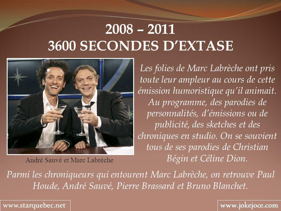 2008 – 2011 3600 SECONDES DEXTASE André Sauvé et Marc Labrèche Les folies de Marc Labrèche ont pris toute leur ampleur au cours de cette émission humoristique quil animait.