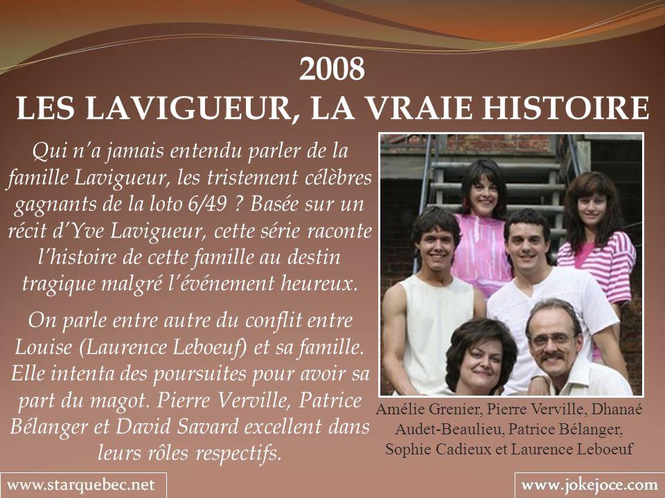 2008 LES LAVIGUEUR, LA VRAIE HISTOIRE Amélie Grenier, Pierre Verville, Dhanaé Audet-Beaulieu, Patrice Bélanger, Sophie Cadieux et Laurence Leboeuf Qui
