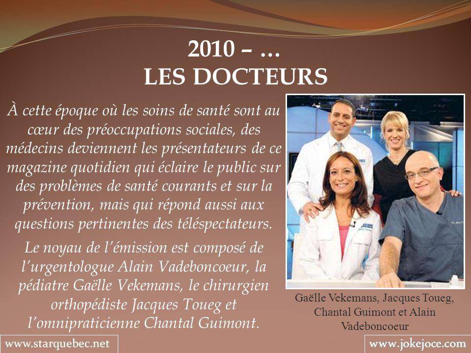 2010 – … LES DOCTEURS Gaëlle Vekemans, Jacques Toueg, Chantal Guimont et Alain Vadeboncoeur À cette époque où les soins de santé sont au cœur des préo