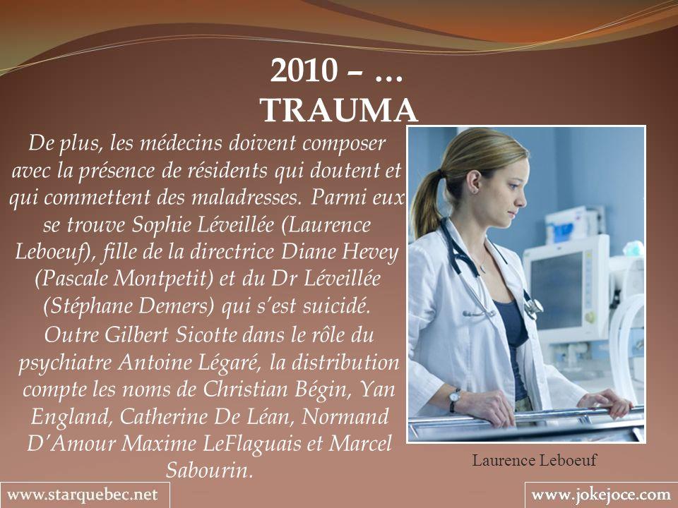 2010 – … TRAUMA Laurence Leboeuf De plus, les médecins doivent composer avec la présence de résidents qui doutent et qui commettent des maladresses.