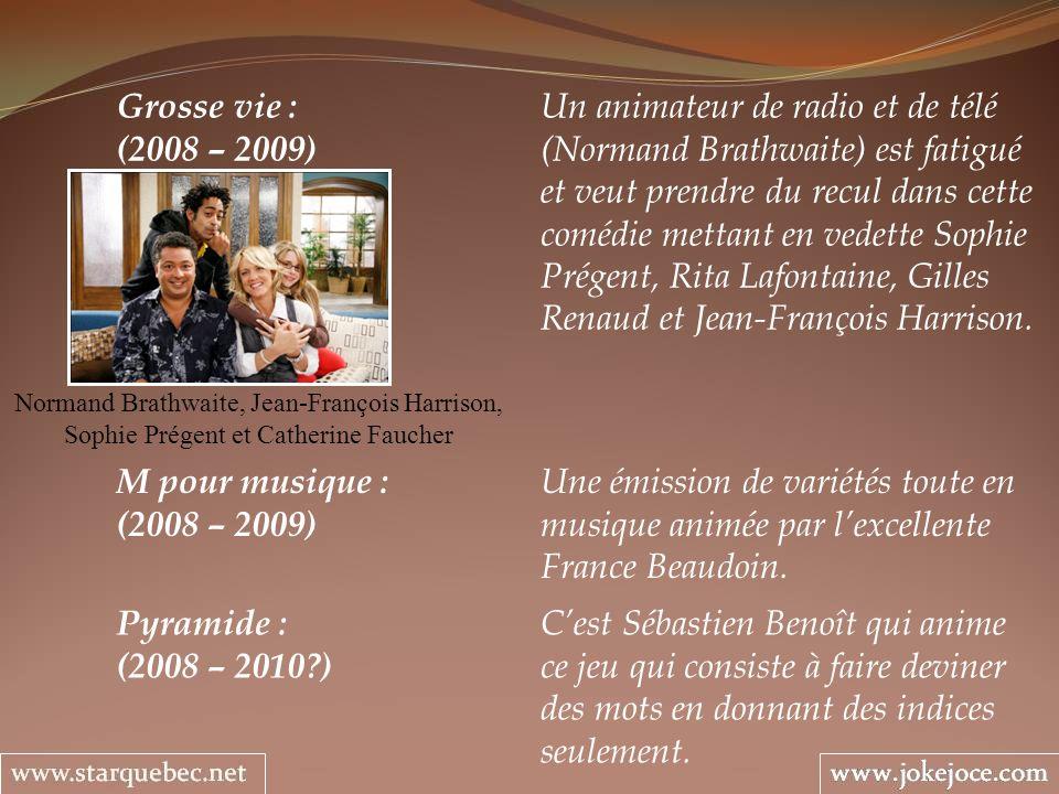 Grosse vie : Un animateur de radio et de télé (2008 – 2009) (Normand Brathwaite) est fatigué et veut prendre du recul dans cette comédie mettant en vedette Sophie Prégent, Rita Lafontaine, Gilles Renaud et Jean-François Harrison.