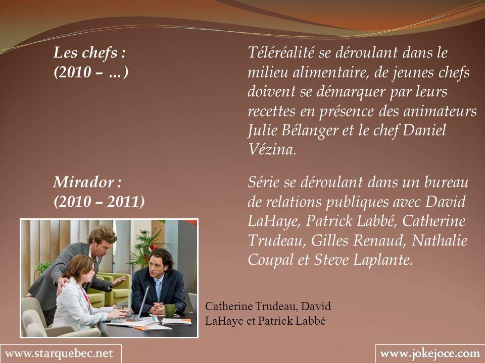 Mirador : Série se déroulant dans un bureau (2010 – 2011) de relations publiques avec David LaHaye, Patrick Labbé, Catherine Trudeau, Gilles Renaud, Nathalie Coupal et Steve Laplante.