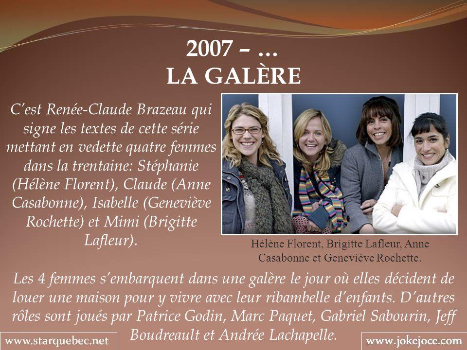 2007 – … LA GALÈRE Hélène Florent, Brigitte Lafleur, Anne Casabonne et Geneviève Rochette. Cest Renée-Claude Brazeau qui signe les textes de cette sér
