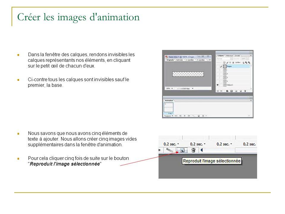 Créer les images d'animation Dans la fenêtre des calques, rendons invisibles les calques représentants nos éléments, en cliquant sur le petit œil de c