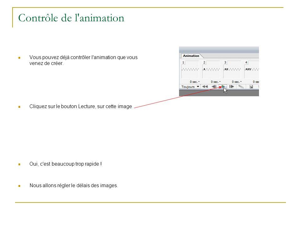 Indiquer un délais pour les images Pour fixer un délais pour toutes les images, cliquez sur la double flèche en bout de fenêtre, et dans les options proposées choisir Sélectionner toutes les images .