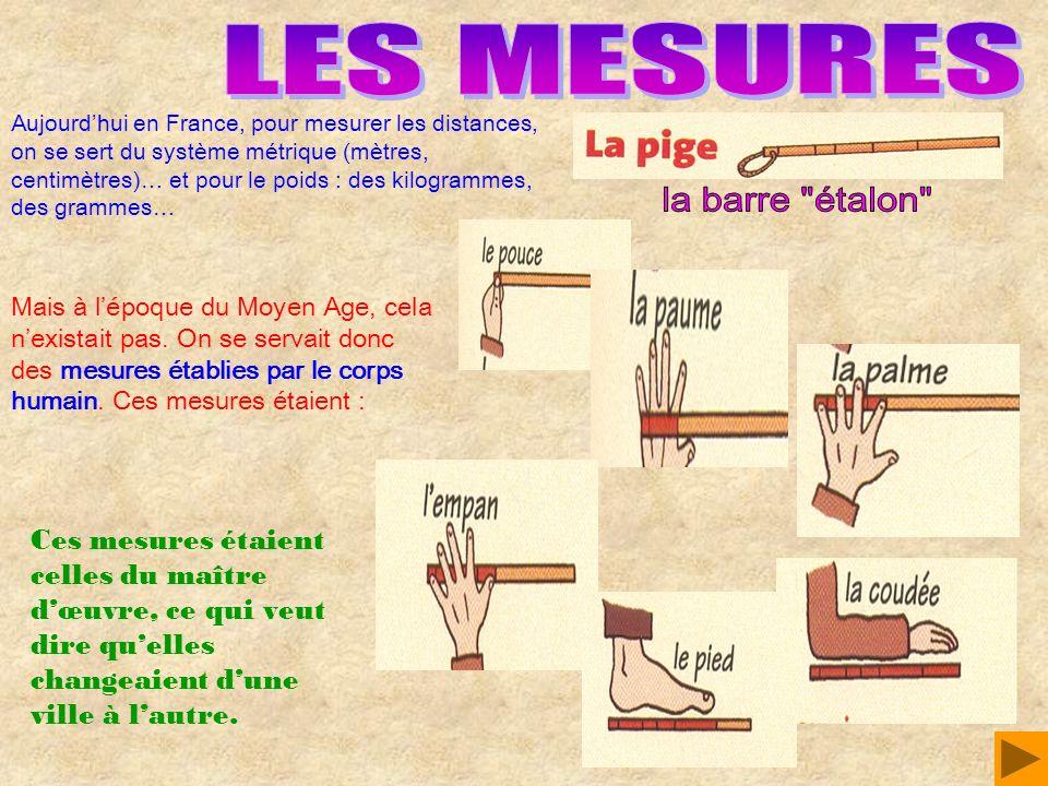 Aujourdhui en France, pour mesurer les distances, on se sert du système métrique (mètres, centimètres)… et pour le poids : des kilogrammes, des gramme
