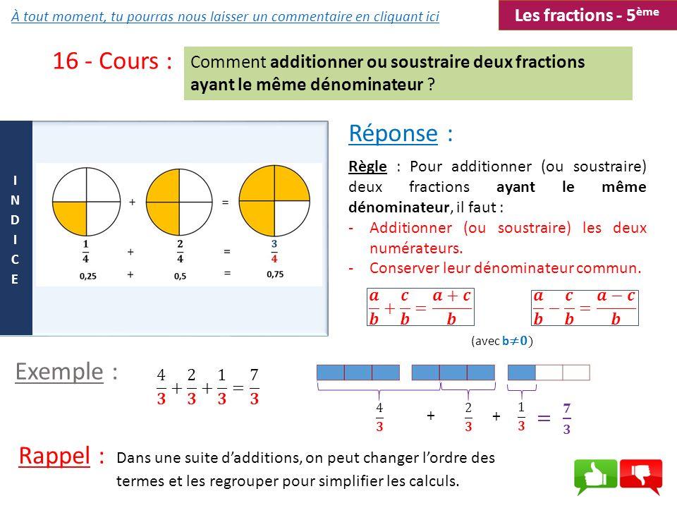 16 - Cours : Comment additionner ou soustraire deux fractions ayant le même dénominateur ? Dans une suite dadditions, on peut changer lordre des terme