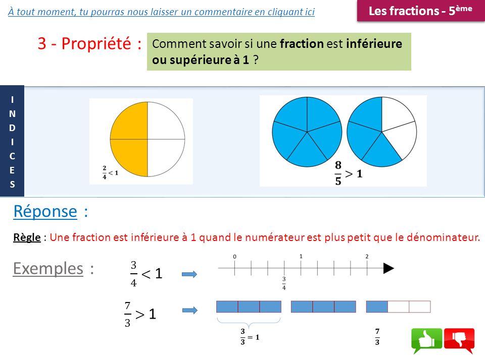 3 - Propriété : Comment savoir si une fraction est inférieure ou supérieure à 1 ? Règle : Une fraction est inférieure à 1 quand le numérateur est plus