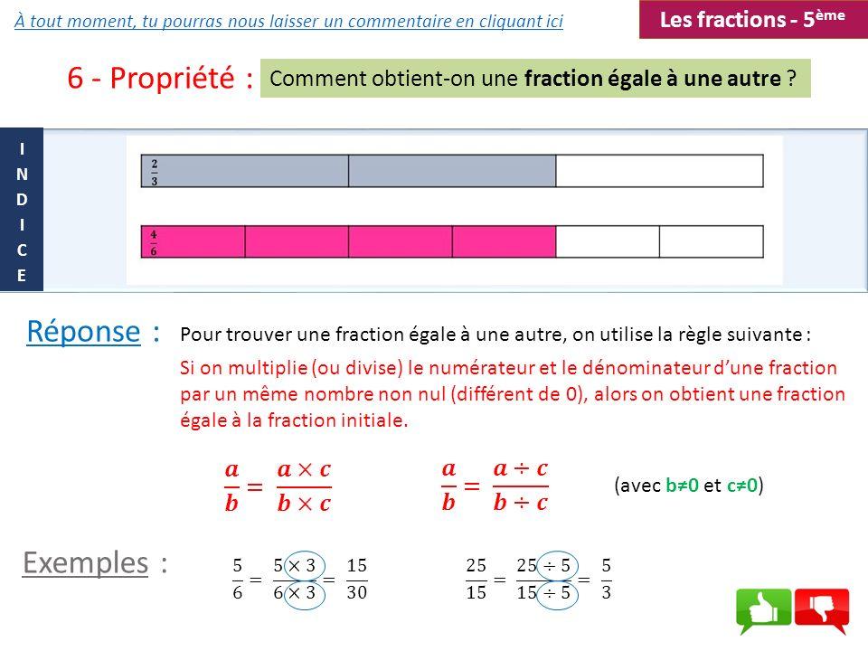 6 - Propriété : Comment obtient-on une fraction égale à une autre ? Pour trouver une fraction égale à une autre, on utilise la règle suivante : Si on