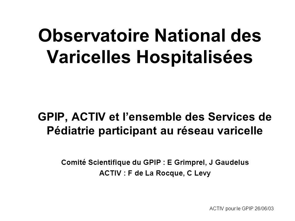 ACTIV pour le GPIP 26/06/03 Observatoire National des Varicelles Hospitalisées GPIP, ACTIV et lensemble des Services de Pédiatrie participant au résea