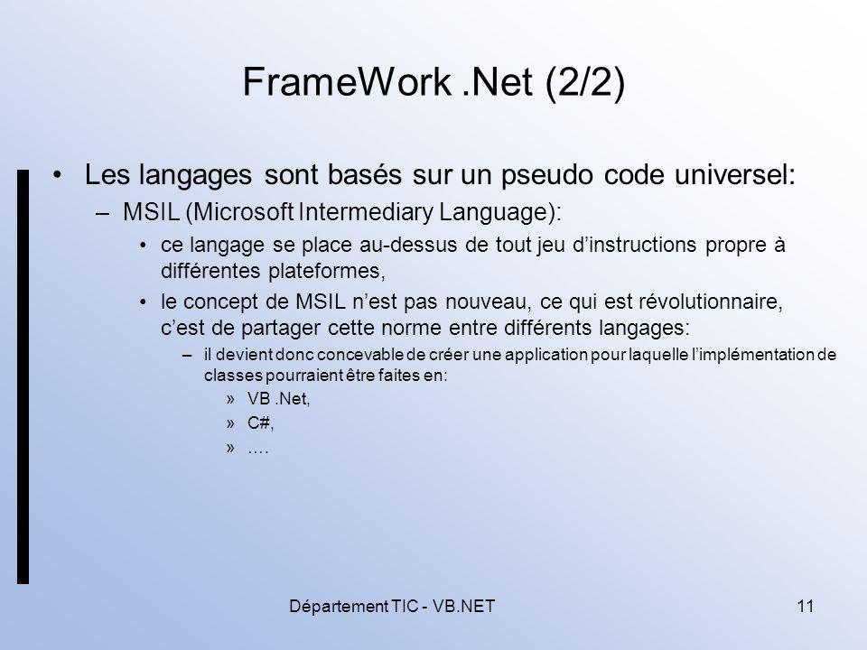 Département TIC - VB.NET11 FrameWork.Net (2/2) Les langages sont basés sur un pseudo code universel: –MSIL (Microsoft Intermediary Language): ce langage se place au-dessus de tout jeu dinstructions propre à différentes plateformes, le concept de MSIL nest pas nouveau, ce qui est révolutionnaire, cest de partager cette norme entre différents langages: –il devient donc concevable de créer une application pour laquelle limplémentation de classes pourraient être faites en: »VB.Net, »C#, »….