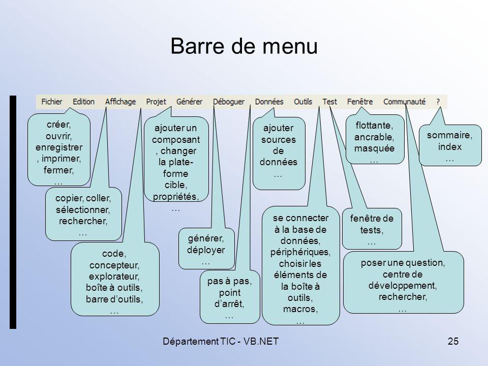 Département TIC - VB.NET25 Barre de menu créer, ouvrir, enregistrer, imprimer, fermer, … copier, coller, sélectionner, rechercher, … code, concepteur, explorateur, boîte à outils, barre doutils, … ajouter un composant, changer la plate- forme cible, propriétés, … générer, déployer … pas à pas, point darrêt, … ajouter sources de données … se connecter à la base de données, périphériques, choisir les éléments de la boîte à outils, macros, … fenêtre de tests, … flottante, ancrable, masquée … poser une question, centre de développement, rechercher, … sommaire, index …