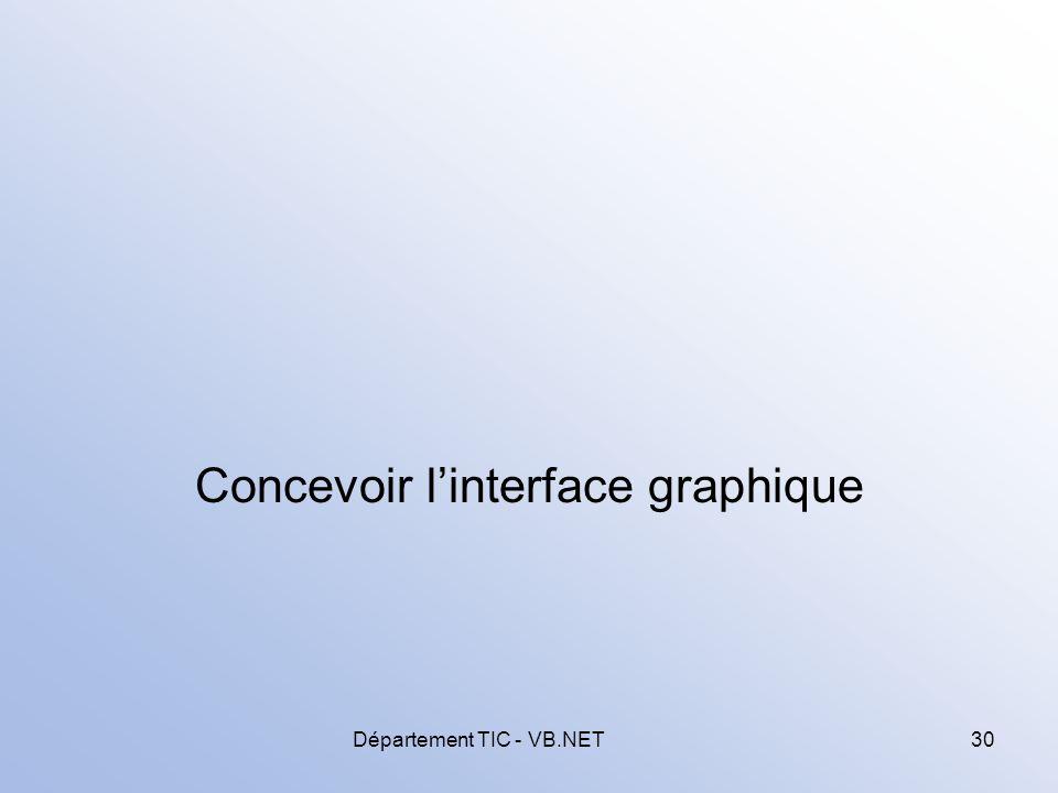 Département TIC - VB.NET30 Concevoir linterface graphique