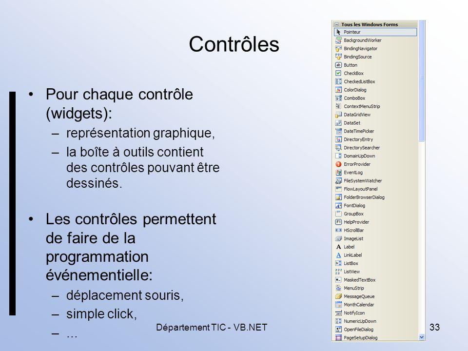 Département TIC - VB.NET33 Contrôles Pour chaque contrôle (widgets): –représentation graphique, –la boîte à outils contient des contrôles pouvant être dessinés.