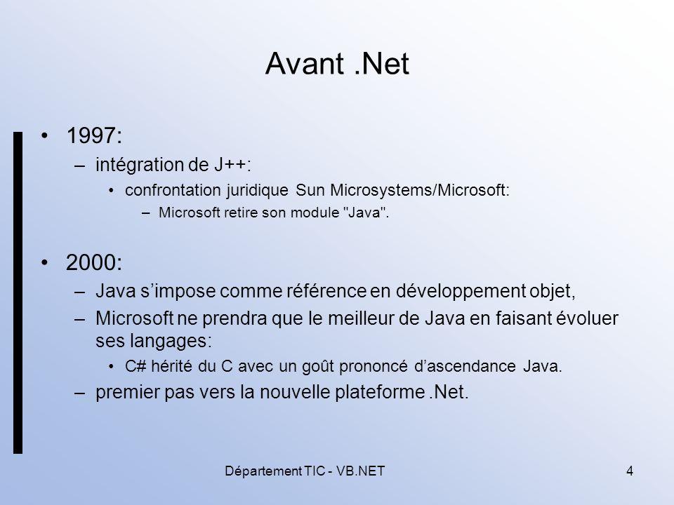 Département TIC - VB.NET5 Présentation (1/5) FrameWork.Net: –plateforme dintégration, propriété de Microsoft: le code généré ne peut fonctionner que dans lenvironnement dexécution.Net.