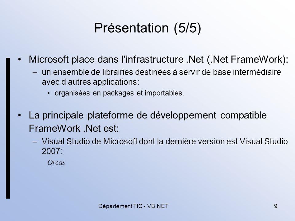 Département TIC - VB.NET9 Présentation (5/5) Microsoft place dans l infrastructure.Net (.Net FrameWork): –un ensemble de librairies destinées à servir de base intermédiaire avec dautres applications: organisées en packages et importables.