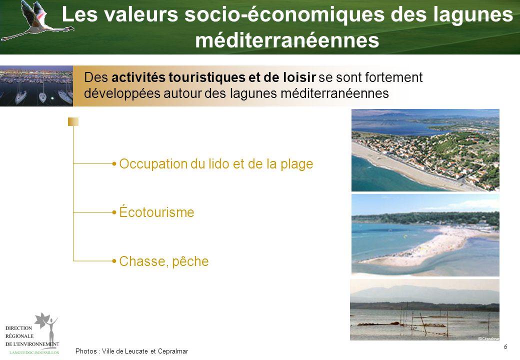 6 Photos : Ville de Leucate et Cepralmar Occupation du lido et de la plage Écotourisme Chasse, pêche Les valeurs socio-économiques des lagunes méditer