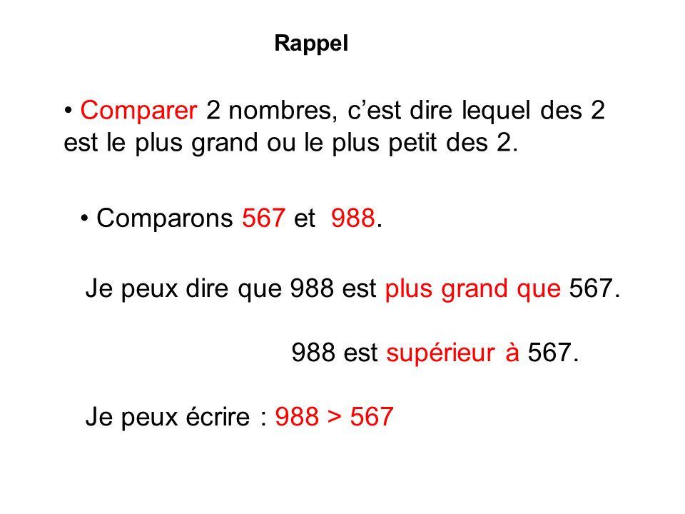 Je peux dire aussi que: 567 est plus petit que 988.