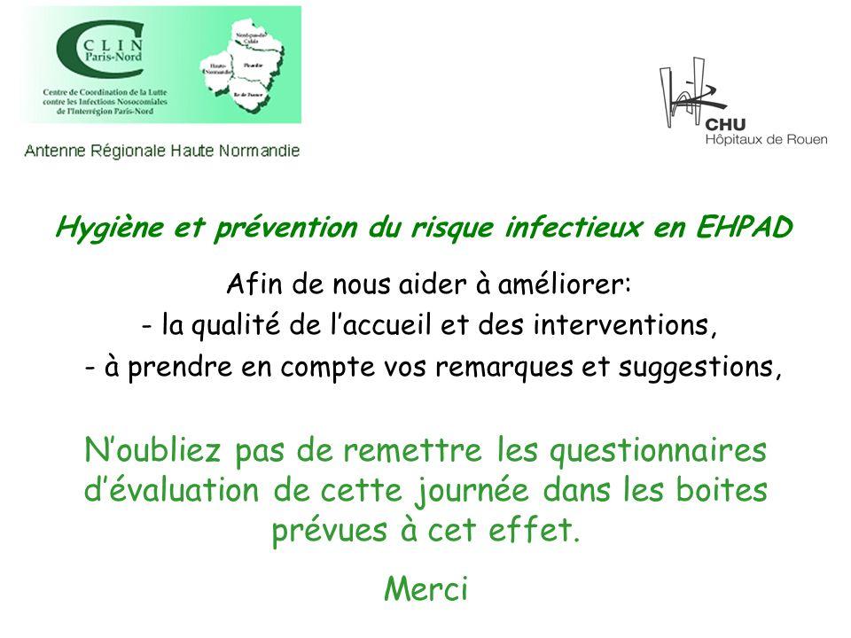 Hygiène et prévention du risque infectieux en EHPAD Afin de nous aider à améliorer: - la qualité de laccueil et des interventions, - à prendre en comp