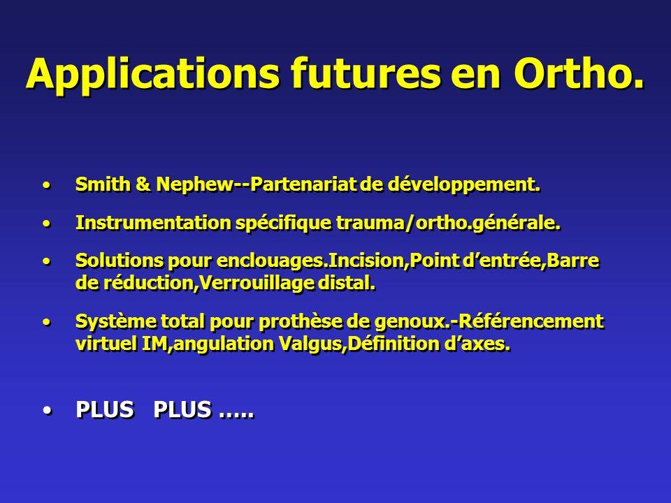 Applications futures en Ortho.Smith & Nephew--Partenariat de développement.