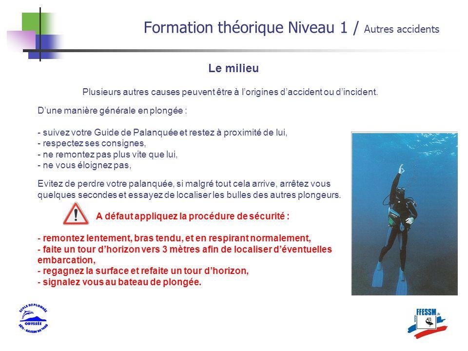 Le milieu Formation théorique Niveau 1 / Autres accidents Plusieurs autres causes peuvent être à lorigines daccident ou dincident. Dune manière généra