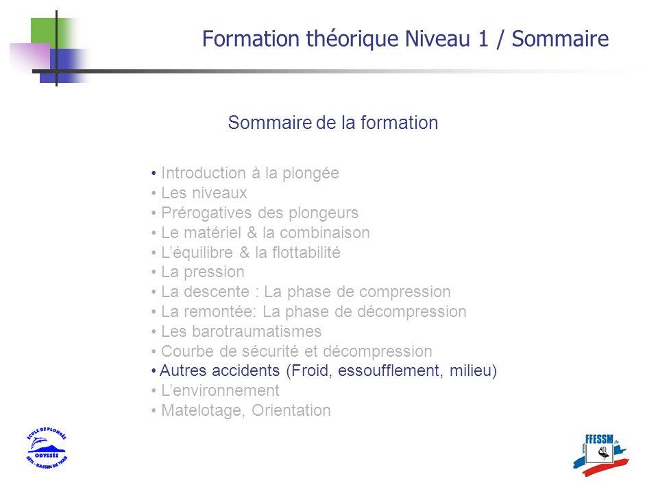 Formation théorique Niveau 1 / Sommaire Sommaire de la formation Introduction à la plongée Les niveaux Prérogatives des plongeurs Le matériel & la com