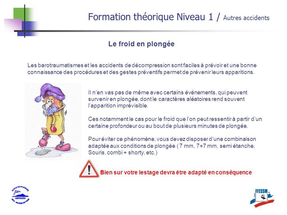 Formation théorique Niveau 1 / Autres accidents Les barotraumatismes et les accidents de décompression sont faciles à prévoir et une bonne connaissanc