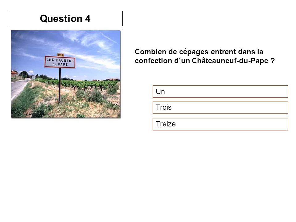 Combien de cépages entrent dans la confection dun Châteauneuf-du-Pape ? Un Trois Treize Question 4