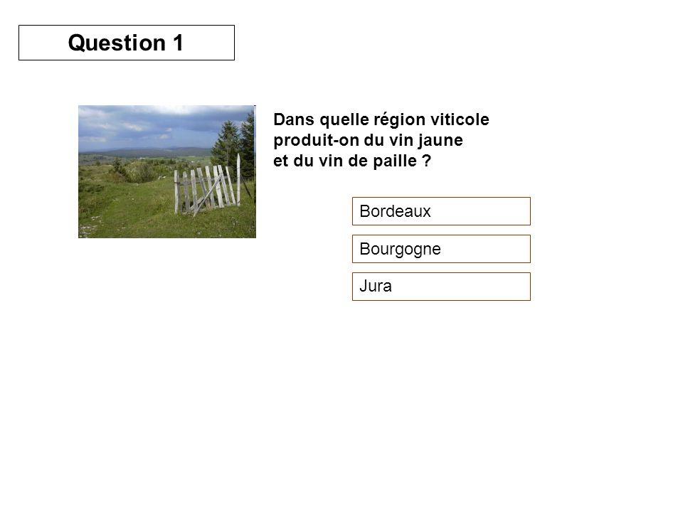 Dans quelle région viticole produit-on du vin jaune et du vin de paille ? Bordeaux Bourgogne Jura Question 1