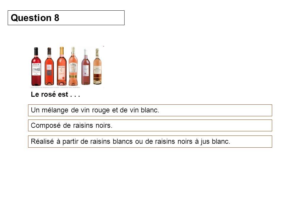 Le rosé est... Un mélange de vin rouge et de vin blanc. Question 8 Composé de raisins noirs. Réalisé à partir de raisins blancs ou de raisins noirs à