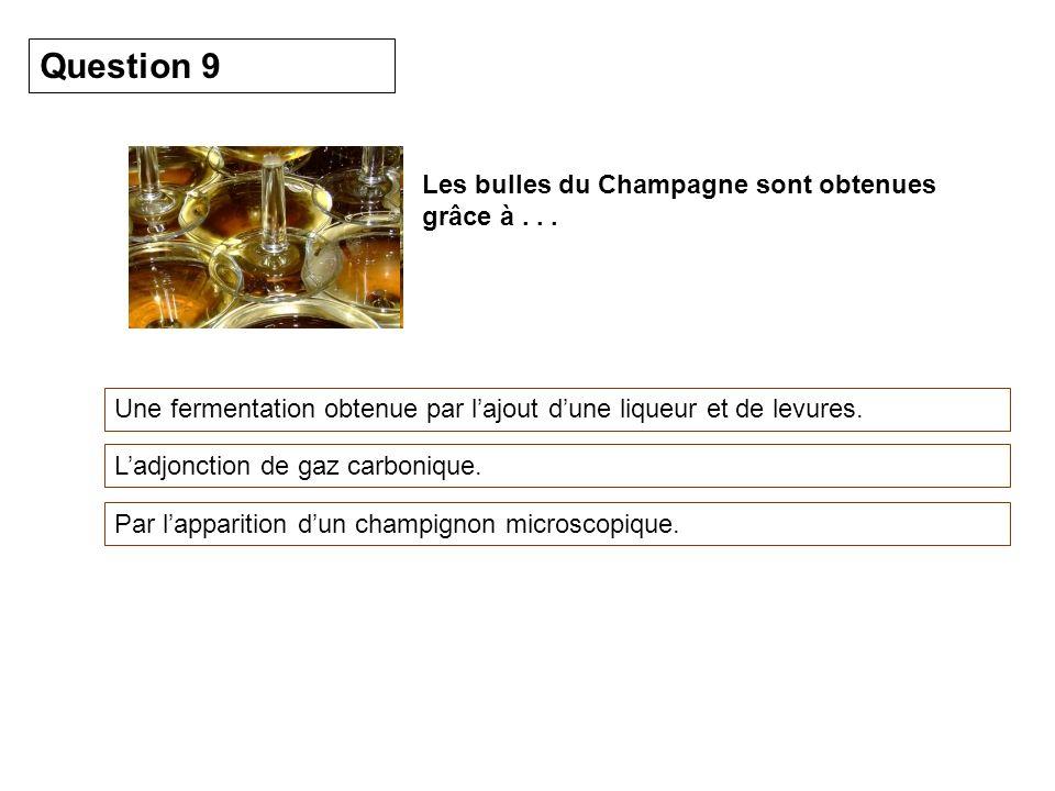 Les bulles du Champagne sont obtenues grâce à... Une fermentation obtenue par lajout dune liqueur et de levures. Question 9 Ladjonction de gaz carboni
