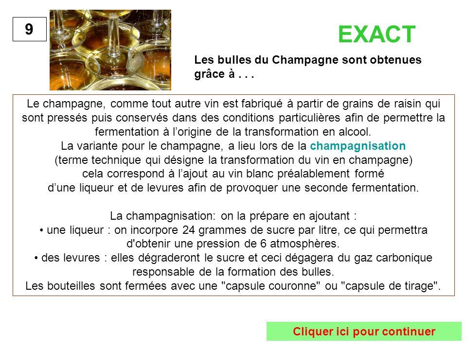 Les bulles du Champagne sont obtenues grâce à... 9 Le champagne, comme tout autre vin est fabriqué à partir de grains de raisin qui sont pressés puis