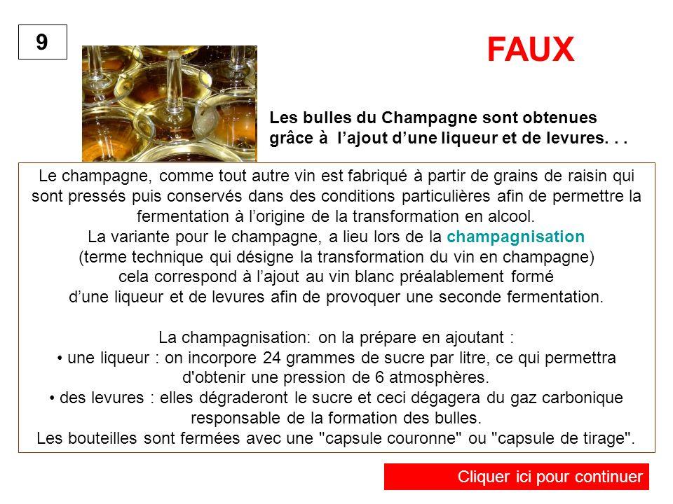 Les bulles du Champagne sont obtenues grâce à lajout dune liqueur et de levures... 9 Le champagne, comme tout autre vin est fabriqué à partir de grain