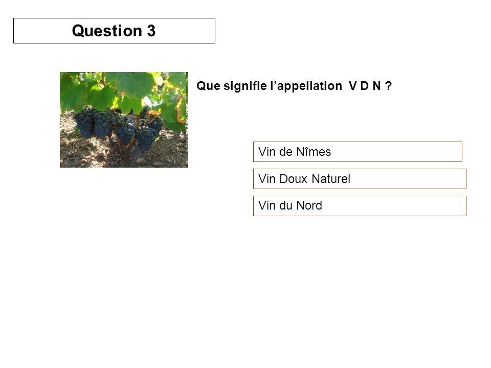 Que signifie lappellation V D N ? Vin de Nîmes Vin Doux Naturel Vin du Nord Question 3