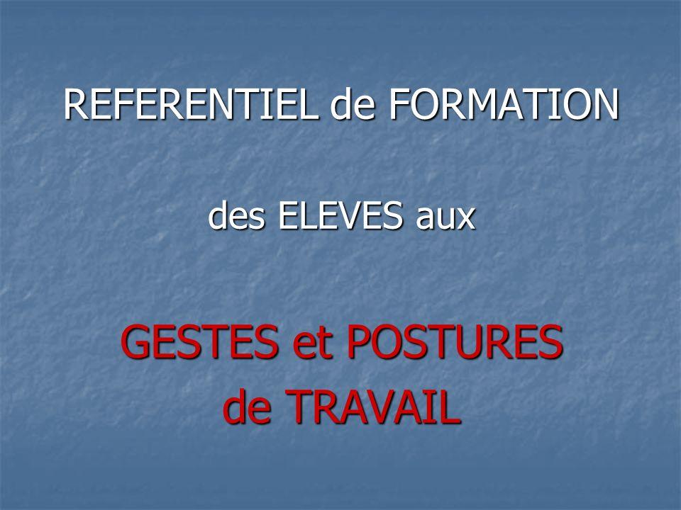 REFERENTIEL de FORMATION des ELEVES aux GESTES et POSTURES de TRAVAIL