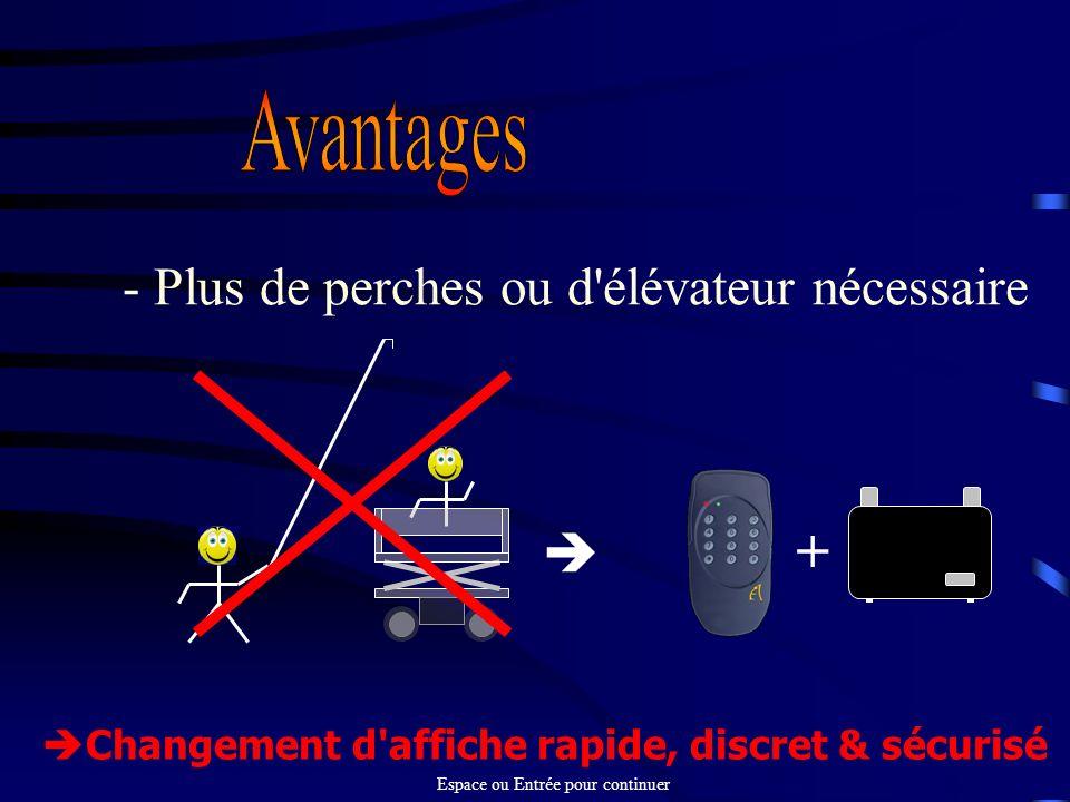 - Plus de perches ou d'élévateur nécessaire Changement d'affiche rapide, discret & sécurisé Espace ou Entrée pour continuer +