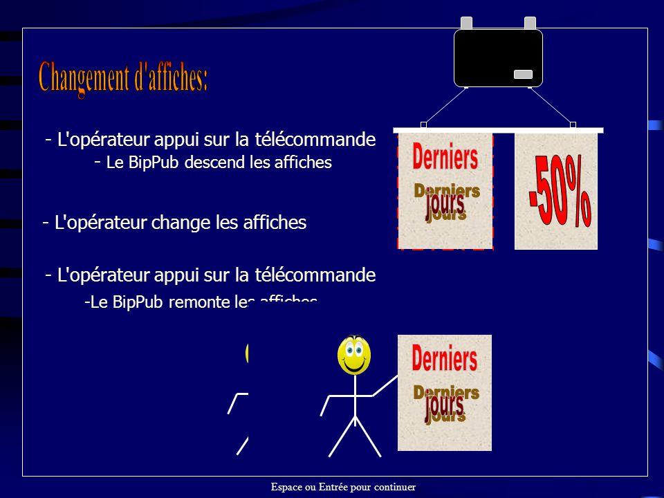 - L opérateur appui sur la télécommande - Le BipPub descend les affiches - L opérateur change les affiches - L opérateur appui sur la télécommande -Le BipPub remonte les affiches Espace ou Entrée pour continuer