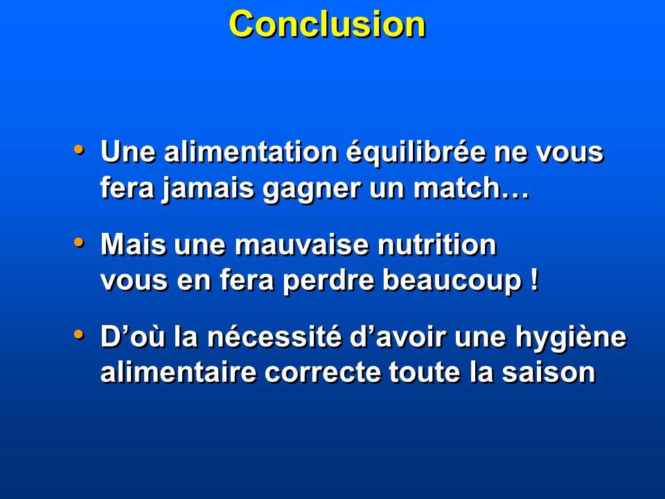 Conclusion Une alimentation équilibrée ne vous fera jamais gagner un match… Mais une mauvaise nutrition vous en fera perdre beaucoup ! Doù la nécessit