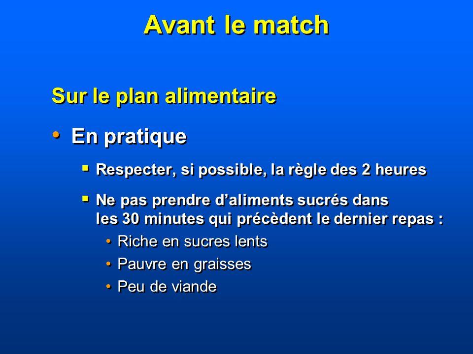 Avant le match Sur le plan alimentaire En pratique Respecter, si possible, la règle des 2 heures Ne pas prendre daliments sucrés dans les 30 minutes q