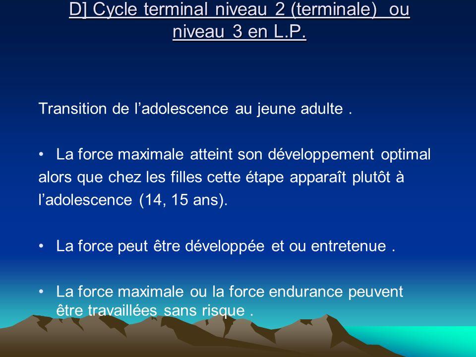 D] Cycle terminal niveau 2 (terminale) ou niveau 3 en L.P. D] Cycle terminal niveau 2 (terminale) ou niveau 3 en L.P. Transition de ladolescence au je