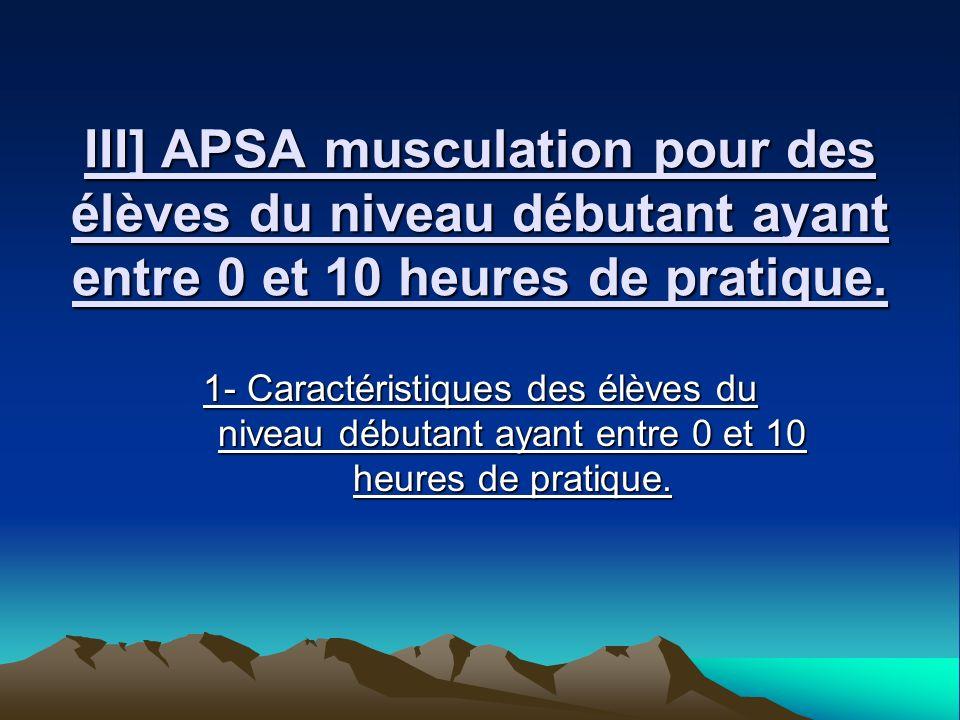 III] APSA musculation pour des élèves du niveau débutant ayant entre 0 et 10 heures de pratique. 1- Caractéristiques des élèves du niveau débutant aya