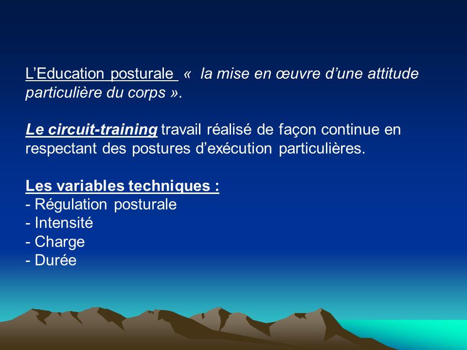 LEducation posturale « la mise en œuvre dune attitude particulière du corps ». Le circuit-training travail réalisé de façon continue en respectant des