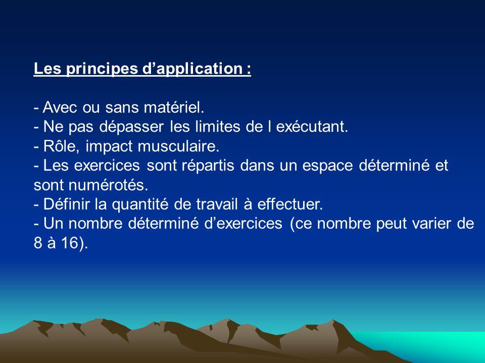 Les principes dapplication : - Avec ou sans matériel. - Ne pas dépasser les limites de l exécutant. - Rôle, impact musculaire. - Les exercices sont ré